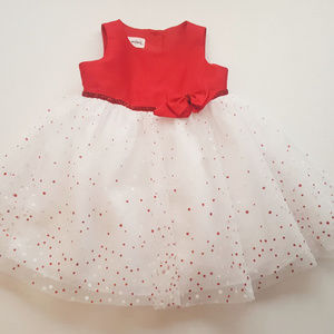 Baby Girls Red White Poka Dot Glitter Dress 18M